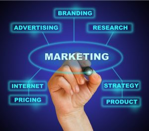 """businesswoman marking """"marketing"""" in blue on the gradient background made in 2d software"""